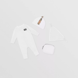 Burberry baby set core check bianco off white