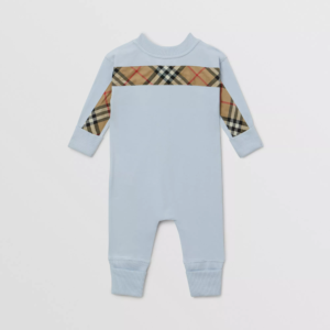 Burberry baby set core check celesste light blue onesie_3