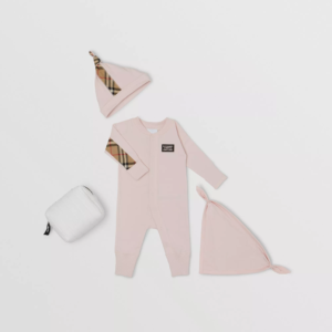 Burberry baby set core check rosa pink