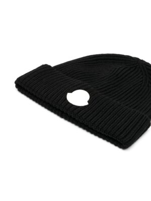 Moncler cappello con logo hat with patch F29549Z71020 nero_2