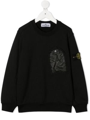 Stone Island felpa con taschino sweater 731660446 patch applicazione_nero_1