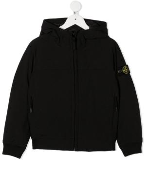 Stone Island giacca con applicazione jacket soft shell 731640531 patch applicazione_nero_1