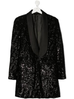 Balmain blazer con paillettes 6N1080 nero_1