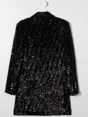 Balmain blazer con paillettes 6N1080 nero_2