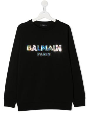 Balmain felpa logo metallizzato 6N4580 nero_1