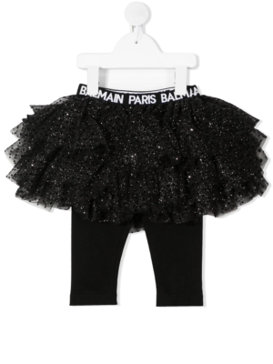 Balmain leggings con gonna in tulle 6N7300 nero_1