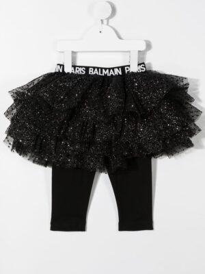 Balmain leggings con gonna in tulle 6N7300 nero_2