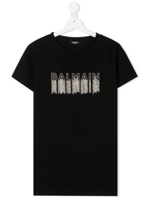 Balmain t-shirt con decorazione 6N8061 nero_1