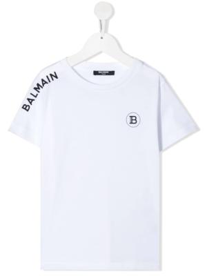 Balmain t-shirt logo laterale 6N8531 bianco_1
