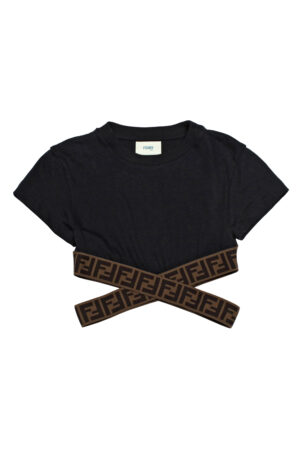 FENDI JFI227 t-shirt crop banda_nero_1