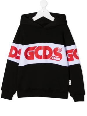 GCDS felpa con cappuccio sweater hooded 025762 nero_1