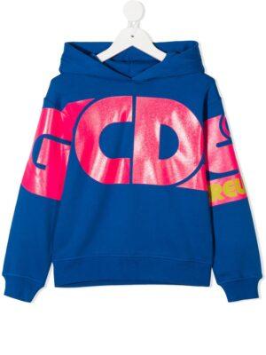 GCDS felpa con cappuccio sweater hooded 025792 blu_1