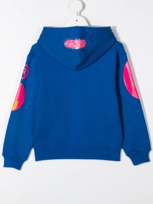 GCDS felpa con cappuccio sweater hooded 025792 blu_2