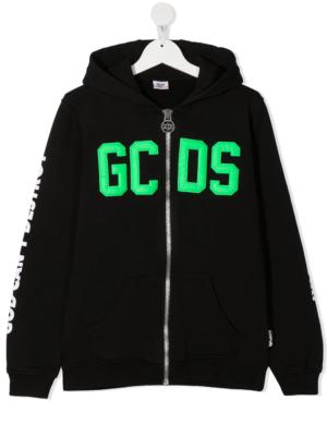 GCDS felpa con cappuccio sweater hooded 025883 nero_1