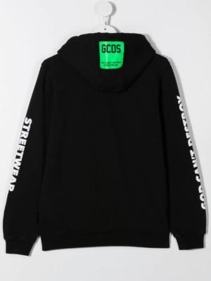 GCDS felpa con cappuccio sweater hooded 025883 nero_2